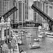 Chicago River Boat Migration In Black And White Poster