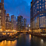 Chicago River Lights Poster