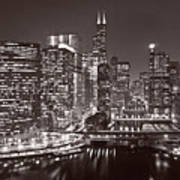 Chicago River Panorama B W Poster