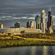 Chicago Skyline And Nature Preserve At Sunrise Poster