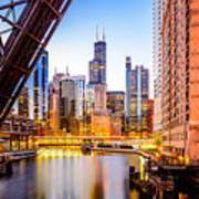 Chicago Skyline At Night And Kinzie Bridge Poster