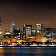 Chicago Skyline At Night Extra Wide Panorama Poster