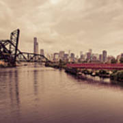 Chicago Skyline From The Southside With Red Bridge Poster
