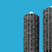Chicago Skyline Marina Towers - Teal Poster