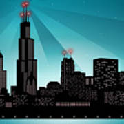 Chicago Skyline Poster by Sandra Hoefer