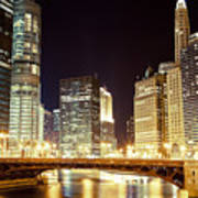 Chicago State Street Bridge At Night Poster by Paul Velgos