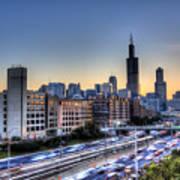 Chicago Sunrise Rush Hour Poster