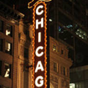Chicago Theater At Night Poster