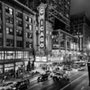 Chicago Theater In Black And White Poster
