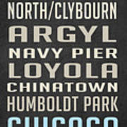 Chicago Vintage Subway Signs Poster