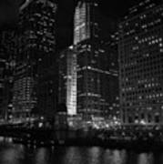 Chicago Wacker Drive Night Poster