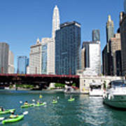 Chicago Watching The Kayaks On The River Poster