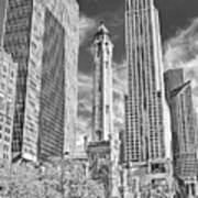 Chicago Water Tower Shopping Black And White Poster