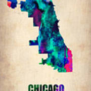 Chicago Watercolor Map Poster by Naxart Studio