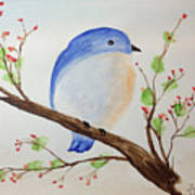 Chickadee On A Branch With Leaves Poster