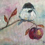 Chickadee On An Apple Tree Poster