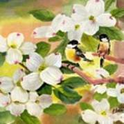 Chickadees In The Dogwood Tree Poster