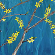 Chickadees On Forsythia Poster