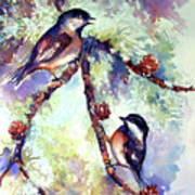 Chickadees On Twig Poster