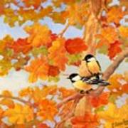 Chickadees With Oak Leaves Poster