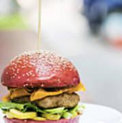 Chicken Burger With Gherkins Beetroot Bread Bun Poster
