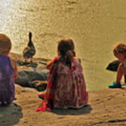 Children At The Pond 4 Poster
