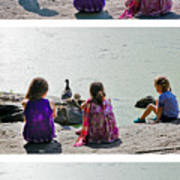 Children At The Pond Triptych Poster