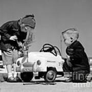 Children Play At Repairing Toy Car Poster