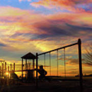 Children Playground At Sunset Poster