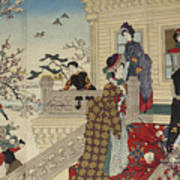 Children Playing In The Snow Under Plum Trees In Bloom Poster
