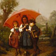 Children Under A Red Umbrella Poster