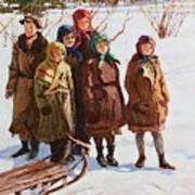 Children With A Sled Nikolai Petrovich Bogdanov-belsky Poster