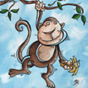 Childrens Whimsical Nursery Art Original Monkey Painting Monkey Buttons By Madart Poster