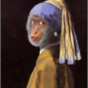 Chimp With A Pearl Earring Poster