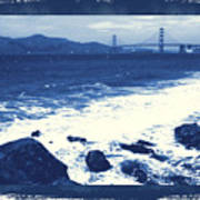 China Beach And Golden Gate Bridge With Blue Tones Poster