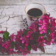 Chinaberry Blossoms And Coffee Cup Poster