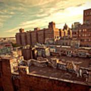 Chinatown Rooftop Graffiti And The Brooklyn Bridge - New York City Poster