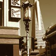 San Francisco Chinatown And Pyramid Poster