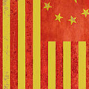 Chinese American Flag Vertical Poster