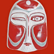 Chinese Porcelain Mask Red Poster
