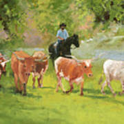 Chisholm Trail Texas Longhorn Cattle Drive Oil Painting By Kmcelwaine Poster