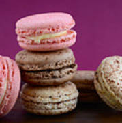 Chocolate And Strawberry Macaroons Poster