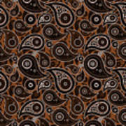 Chocolate Brown Paisley Design Poster