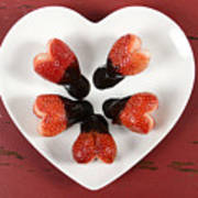 Chocolate Dipped Heart Shaped Strawberries On Heart Shape White Plate Poster