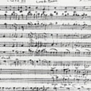 Chorus Of Shepherds, Handwritten Score Of The Opera Ascanio In Alba Poster