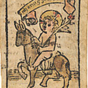 Christ Child On Donkey Poster