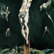Christ Crucified With Toledo In The Background Poster