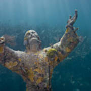 Christ Of The Abyss Statue On Dry Rocks Reef In Key Largo Florida Poster