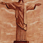 Christ The Redeemer Statue Original Coffee Painting Poster