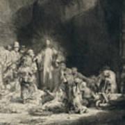 Christ With The Sick Around Him, Receiving Little Children Poster